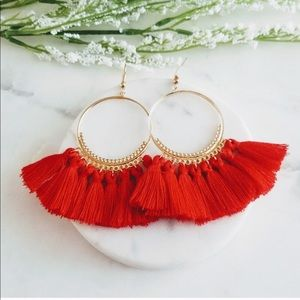 Jewelry - Red Tassel Hoop Earrings